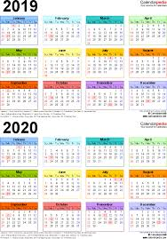 Small Printable 2020 Calendar 2019 2020 Two Year Calendar Free Printable Pdf Templates