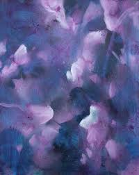saatchi art foliages in purple blue pink mauve and violet fl abstract painting by fabienne monestier