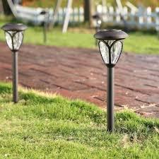 garden path lights. Set Of 2 Light Sensor Solar Powered LED Garden Path In Grey Finish Lights