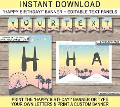 Coachella Themed Party Pennant Banner Template | Party Decorations