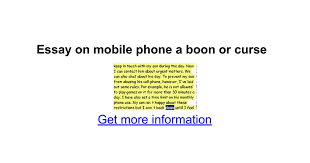 essay on mobile phone a boon or curse google docs