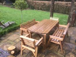 table 2 chairs and bench. wooden garden furniture 6\u0027 table 2 bench \u0026 chairs ( while stocks last ) | fenton products and