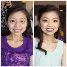 asian chinese bridesmaid hair and makeup before after