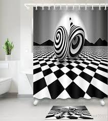 Bathroom decor shower curtains Rustic 2019 3d Black White Print Bath Shower Curtains Modern Style Shower Curtain For Bathroom Decor With 12 Hooks Floor Mats Sets From Paintingart2017 Dhgatecom 2019 3d Black White Print Bath Shower Curtains Modern Style Shower