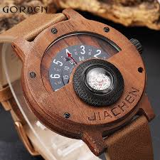 unique compass turntable number design mens wooden watch men brown wood leather band