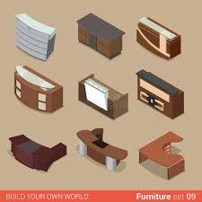 office reception table. Download Office Reception Table Room Flat Vector Isometric Furniture Stock - Illustration Of Business,