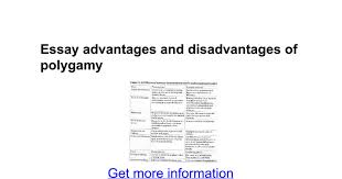 essay advantages and disadvantages of polygamy google docs