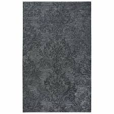 rizzy home fifth avenue dark grey wool handmade damask area rug 10 x 13