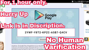 get free google play gift card only for 1 hour valid upto 50