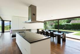 modern white kitchen island. Black And White Modern Kitchen Island With Stainless Hood D