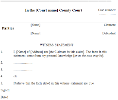 Template Of Statement Witness Statements