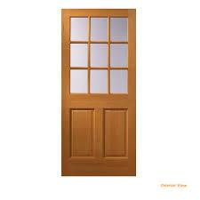 9 lite unfinished wood front door slab