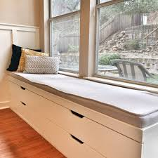 Costly Double Glass Vertical Sliding Windows With White Bay Windows Seat  Added Storage Also Triple Window Seat Cushions On Wood Floors In Modern  Living Room ...