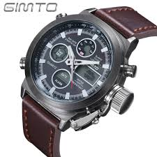 online buy whole mens watches from mens watches hot men watches brand gimto sport diving led display wristwatch fashion casual leather strap watch