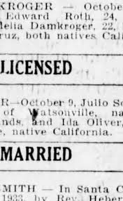 marriage license obtained for Julio Sousa Dias and Ida Oliver -  Newspapers.com