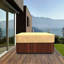 hot tub cover protector 86 x 86 square outdoor spa jacuzzi uv weather proof tan