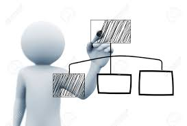 3d Rendering Of Man Drawing Business Organizational Chart Diagram