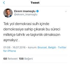 """Ο χρήστης Hilâl Kaplan στο Twitter: """"İmamoğlu, """"Yurtta Sulh Konseyi"""" adıyla  darbe yapılırken, Brüksel'den attığı tivitte,""""Sulh içinde bu süreci  milletçe tahrik ve taşkınlık olmaksızın aşmalıyız"""" demişti Akşener gibi o  da FETÖ'cüleri 'Mehmetçik',"""