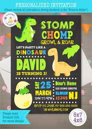 Dinosaur Birthday Invitation Dinosaur Birthday Invitation Printable Personalized Digital Only