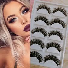 10pair real mink natural long black thick eye lashes fake false eyelashes dress party makeup tools