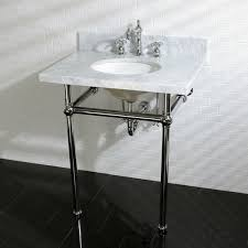 vintage carrara marble 30 inch console sink and metal stand