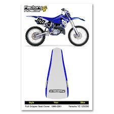 1996 2001 yamaha yz 125 250 blue white full gripper seat cover by enjoy mfg
