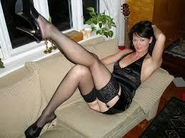 Mature woman wearing stockings