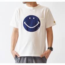 スマイルプリントt ニコちゃん Tシャツ アイボリー オフシロ ブラウン