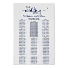Navy Blue Calligraphy Head Table Seating Chart