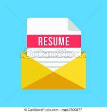 Envelope For Resume Envelope With Resume Letter Email And Document With Resume Title Cv Job Application Concepts Modern Flat Design Vector Illustration