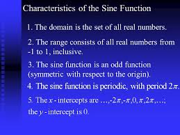 4 characteristics of the sine function