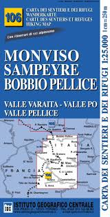 Carta n. 106 Monviso, Sampeyre, Bobbio Pellice 1:25.000. Carta dei sentieri  e dei rifugi. Serie monti: 9788896455364: Amazon.com: Books