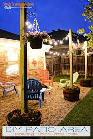 outdoor patio lighting ideas diy. Diy Patio Area With Texas Lamp Posts Hanging Lights Ideas Outdoor Patio Lighting Ideas Diy O