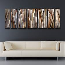 modern wall art decor seven panel metal painting abstract pattern artworks artistic grey shine pale yellow on decorative modern wall art with wall art top pictures modern wall art decor fence art hang wall
