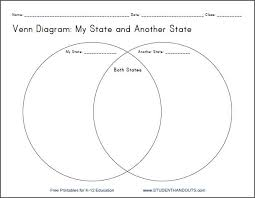 My State Venn Diagram Printable Worksheet For Grades 4 12