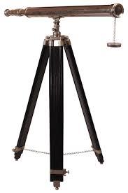 "Decorative Telescopes Telescopes Decorative Telescope 100"" Cast In Brass Silver Color 45"