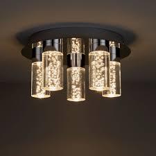 Hubble Chrome Effect 5 Lamp Bathroom Ceiling Light B Q For