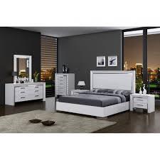 Mirror Bedroom Sets Ibiza Modern Bedroom Set Bed Dresser Mirror And 2 Nightstands