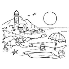 Small Picture Glamorous Beach Scene Coloring Page 19 Beach Scene Coloring Page