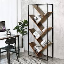 Vasagle Bücherregal Wohnzimmerregal In Baumform Asymmetrisches Standregal Im Industrie Design Leiterregal Raumtrenner Schräg Einfacher Aufbau