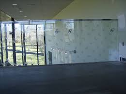 tall glass rail with frosted decorative design