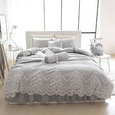 grey pink blue purple cotton lace bedding set full queen king size duvet cover sets oriental style bed linen set bedclothes quilt sets best duvet