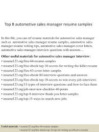 Auto Sales Manager Cover Letter Sample