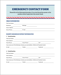 emergency contact template emergency contact forms patient forms information blank printable