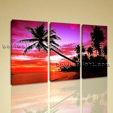 Palm Tree Decor For Bedroom Sunset Scene Glow Purple Palm Tree Landscape Photo Print On Canvas