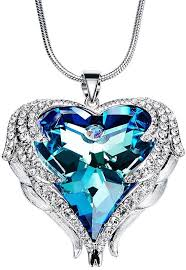 product images gallery angel wing swarovski jewelry women jewelry 18k white gold plated crystals heart