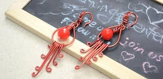diy chinese style chandelier earrings with red wire and red jade beads