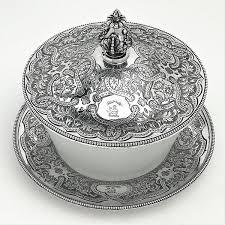 antique victorian silver glass er dish 1856