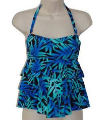 Island Escape Swimwear Size Chart Island Escape Blue Floral Tiered Bandeau Tankini Top Size 6