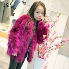 Children fur Coat Kids Real Raccoon Fur Winter Grils Warm Thick Outerwear woman Fox